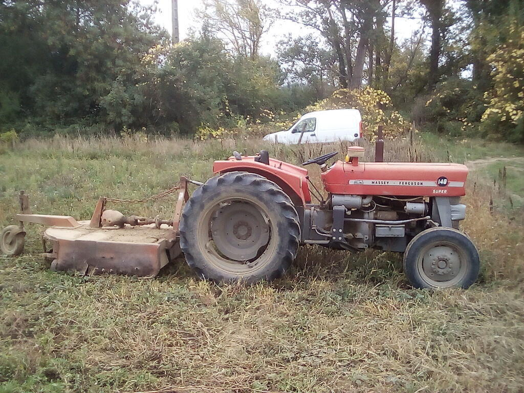 Tracteur Massey Ferguson et gyrobroyeur